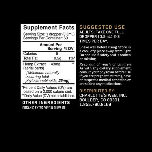 Charlotte's Web | 1500mg 30ml Plant Derived Extract | Original Formula Olive Oil