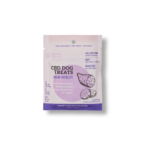 Lazarus Naturals | CBD Sweet Potato Dog Treats – Calm + Vitality | 5 mg/treat | 250mg & 20mg bags